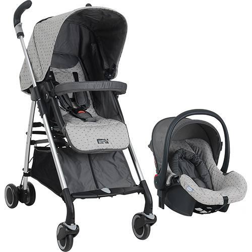 Carrinho para Passeio Compasso com Cadeira para Auto Burigotto Baby Cinza