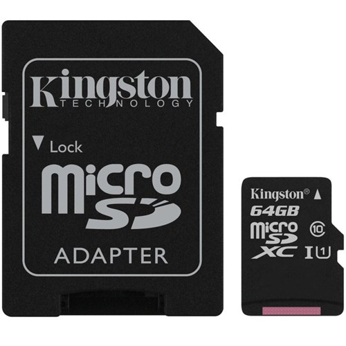 Cartão de Memoria Kingston 64Gb, Micro Sd, C10