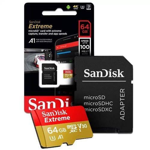 Tudo sobre 'Cartão Memoria Micro Sd 64gb Sandisk Extreme 100/mbs 4k U3'