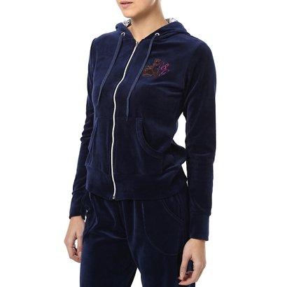Casaco de Plush Feminino Azul Marinho