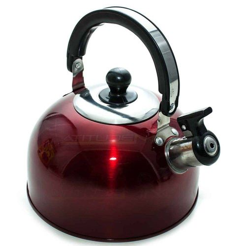 Chaleira Aço Inox 2 Litros Vermelha com Apito Alça Cozinha