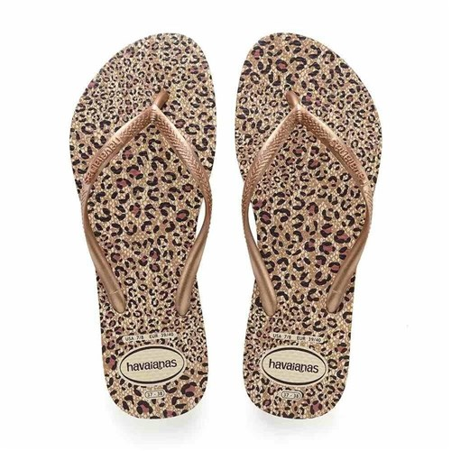 Chinelo Havaianas Slim Animals Bege Palha/Rose Gold/Rose