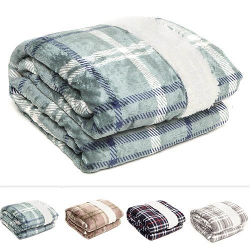 Cobertor / Manta de Microfibra Queen Escócia 100% Poliéster - Corttex Azul