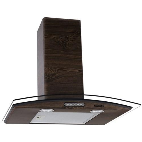 Coifa de Parede Vidro Curvo Slim Wood Color Nog 60Cm Nardelli - 220V