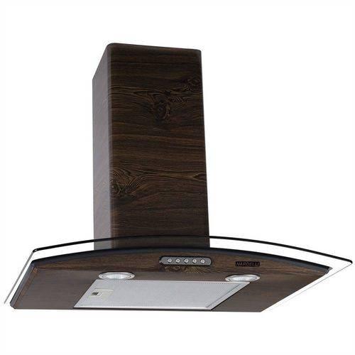 Coifa de Parede Vidro Curvo Slim Wood Color Nog 60cm Nardelli