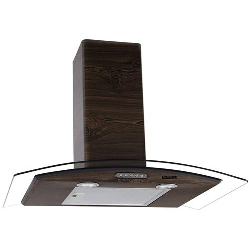 Coifa de Parede Vidro Curvo Slim Wood Color Nog 75Cm Nardelli - 220V