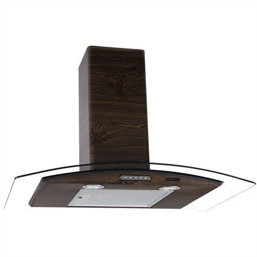 Coifa de Parede Vidro Curvo Slim Wood Color Nog 80cm Nardelli