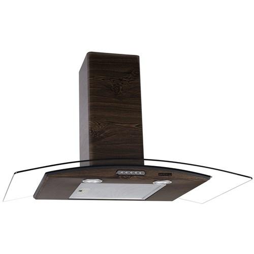 Coifa de Parede Vidro Curvo Slim Wood Color Nog 90Cm Nardelli - 220V
