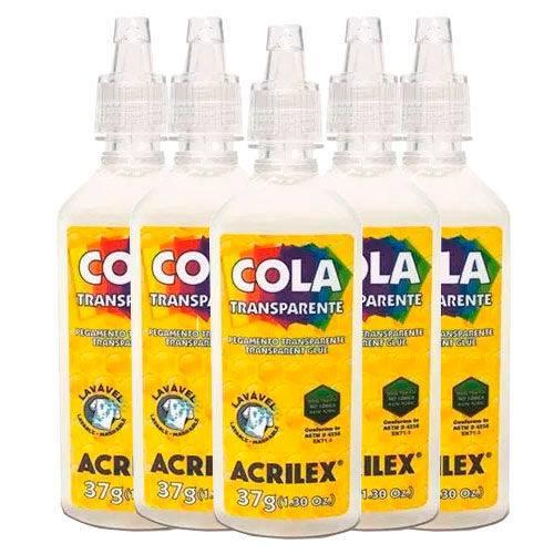 Cola Transparente Acrilex 37g com 6 Unidades
