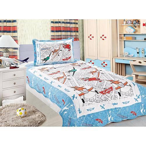 Colcha Infantil e Capa de Travesseiro Patchwork Planes Disney 150 Fios 2 Peças - Camesa