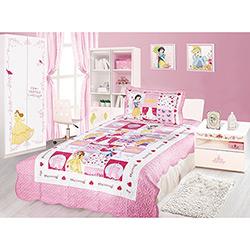 Colcha Infantil e Capa de Travesseiro Patchwork Princesas Disney 150 Fios 2 Peças - Camesa