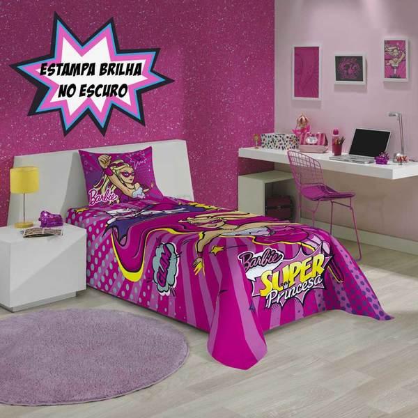 Colcha Solteiro Estampada Barbie Super Princesa - Lepper