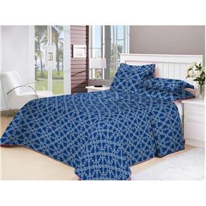 Colcha Solteiro Patchwork - Corda Azul - Azul Royal