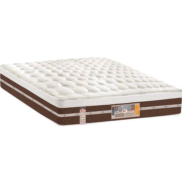 Colchão Casal Pillow Top Silver Star Air Pocket Híbrido One Face - Castor - Palha / Marrom