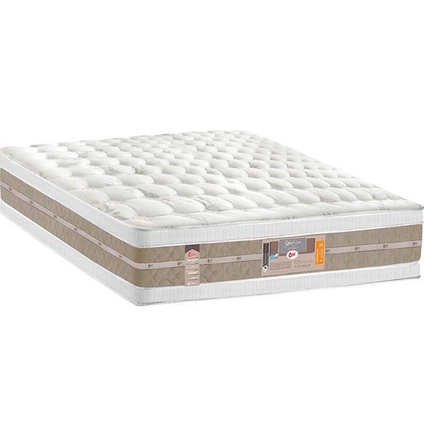Colchão Queen Pillow Top Silver Star Air Pocket Double Face- Castor - Palha / Bege