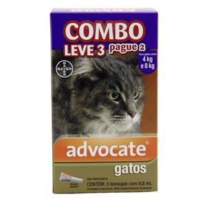 Combo Advocate Gatos Entre 4 e 8kg 0,8ml - Bayer