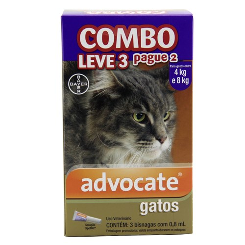 COMBO Advocate Gatos Entre 4 e 8kg 0,8ml Bayer
