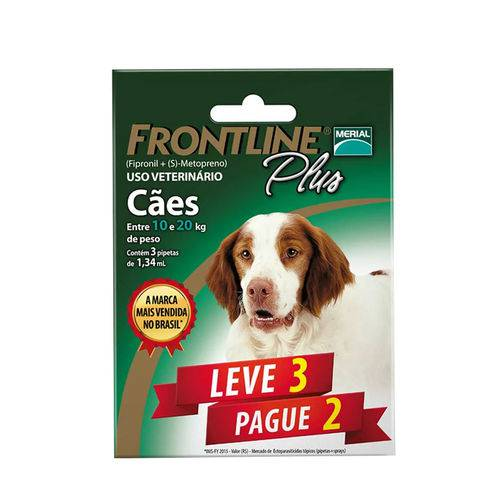Tudo sobre 'Combo Frontline Plus Cães 10 a 20kg Merial 3 Pipetas'
