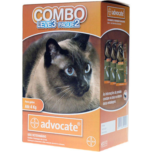 Combo Leve 3 Pague 2 - Advocate Gatos Ate 4 Kg (0,4ml) - Bayer