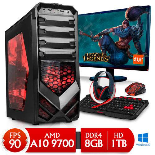 "Tudo sobre 'Computador Gamer Neologic NLI80312 Amd A10 9700 8GB(Radeon R7 Integrada)1TB Win 10 + Monitor 21,5""'"