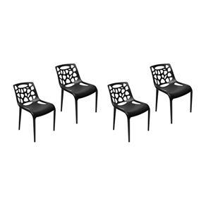 Conjunto 4 Cadeiras Umix-490 Preta