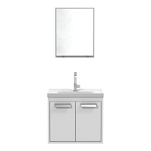 Conjunto Balcão para Banheiro Rigel Branco/Branco