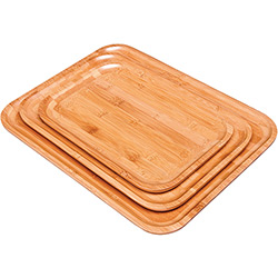 Conjunto Bandejas 3 Peças Bamboo - Mor