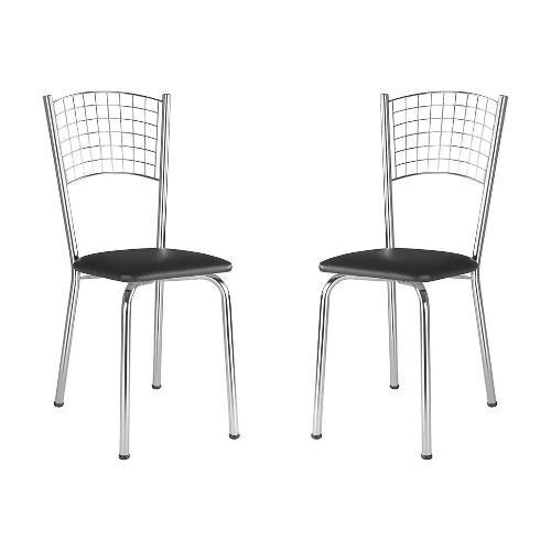 Conjunto 2 Cadeiras Ca970 Preta