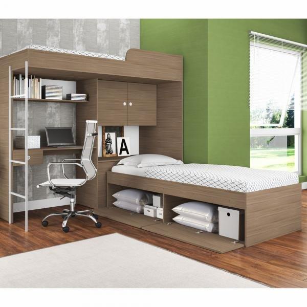 Conjunto Cama com Baú e Cama Alta com Escada e Escrivaninha CJ015 Art In Móveis