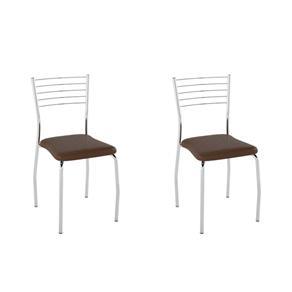 Conjunto com 2 Cadeiras Lini - MARROM