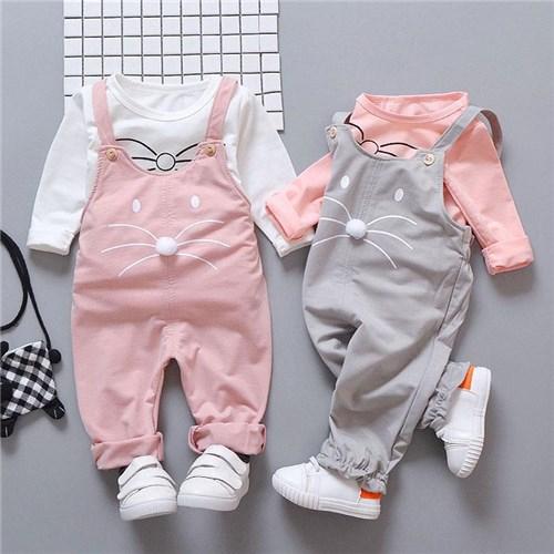 Conjunto de Bebê Gatinho / Rosa / 12M