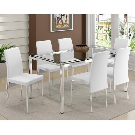 Conjunto de Mesa 0328 e 6 Cadeiras 0306 - Carraro 328306VI.6 328306VI6