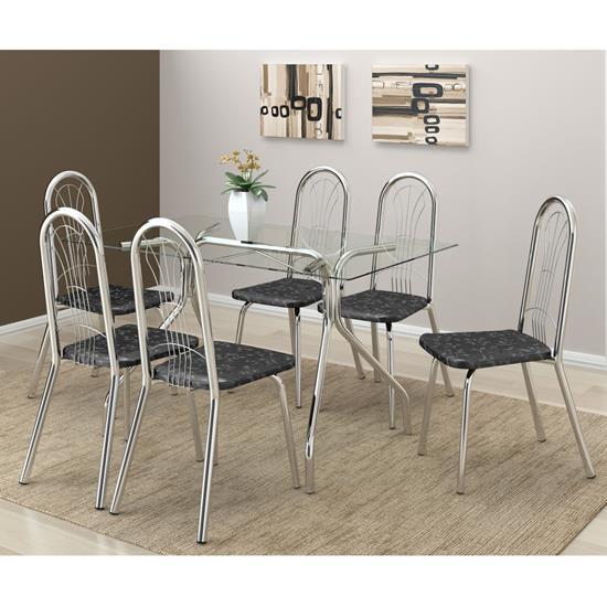 Conjunto de Mesa 0387 e 6 Cadeiras 0182 - Carraro 387182.6 3871826