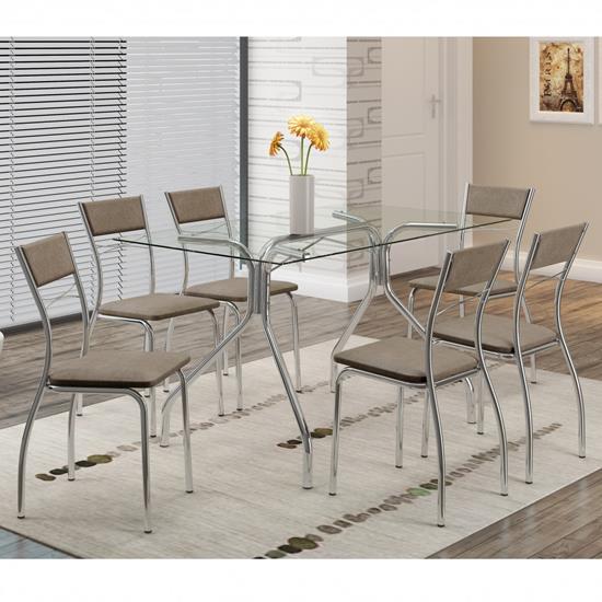 Conjunto de Mesa 0387 e 6 Cadeiras 1701 - Carraro 3871701.6 38717016