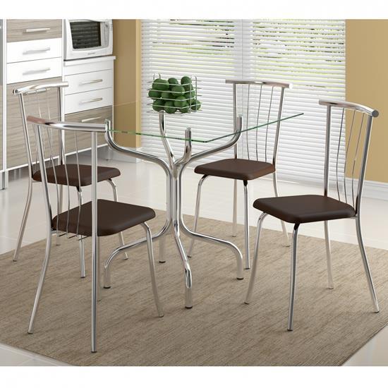 Conjunto de Mesa 0393 e 4 Cadeiras 0154 - Carraro 393154.4 3931544