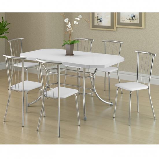 Conjunto de Mesa 1507 e 6 Cadeiras 0154 - Carraro 1507154.6 15071546