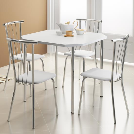Conjunto de Mesa 1510 e 4 Cadeiras 0154 - Carraro 1510154.4 15101544