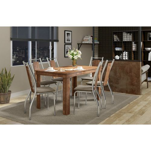 Conjunto de Mesa 1543 com 6 Cadeiras 1720 Carraro