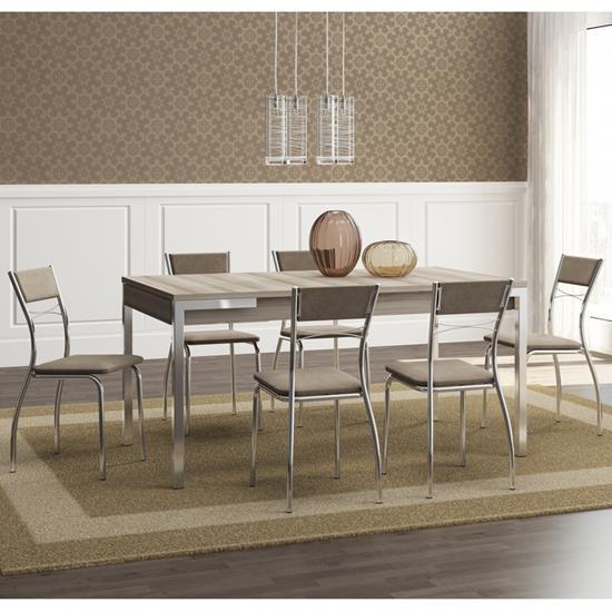 Conjunto de Mesa 1529 e 6 Cadeiras 1701 - Carraro 15291701.6 152917016