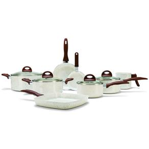 Conjunto de Panelas Antiaderente Cerâmico 8 Peças Brinox Ceramic Life Smart Plus - MARROM