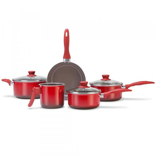 Conjunto de Panelas Brinox Ceramic Life Smart Plus 5 Peças Vermelha