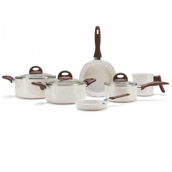 Conjunto de Panelas Brinox Ceramic Life Smart Plus 6 Peças Vanilla