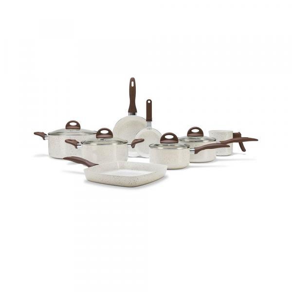 Conjunto de Panelas Brinox Ceramic Life Smart Plus Vanilla - 8 Peças