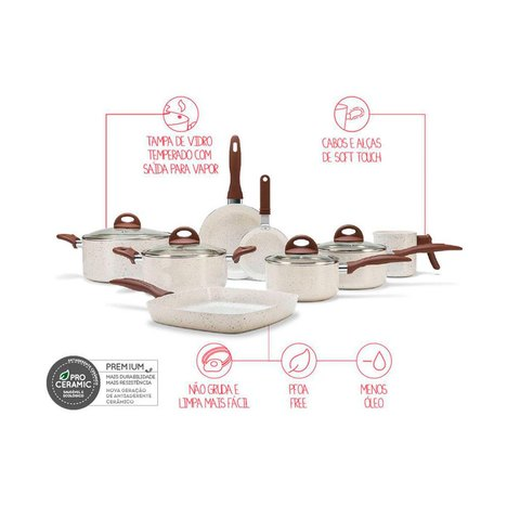 Conjunto de Panelas Brinox Life Smart Plus 8 Peças Vanilla