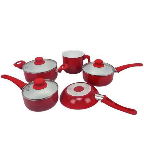 Conjunto de Panelas Cerâmica Antiaderente Vermelha 2,5mm + Kit Espatula 8 Pçs