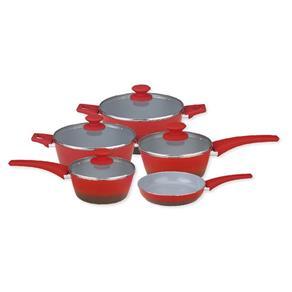 Conjunto de Panelas Revestimento Ceramico 5 Peças Vermelho - Gedex - Vermelho