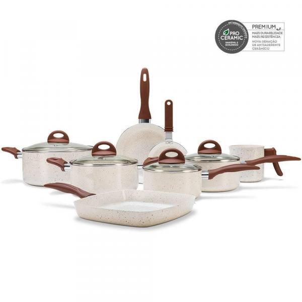 Conjunto de Panelas Smart Plus Ceramic Life 8 Peças Vanilla - Brinox