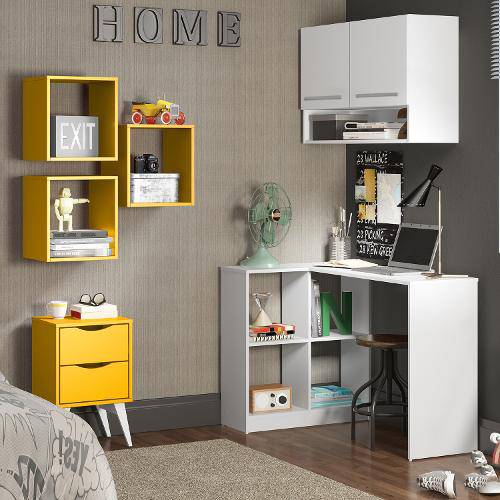 Tudo sobre 'Conjunto Home Office Paradiso Madesa Branco/Amarelo'