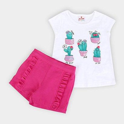 Conjunto Infantil Brandili Cactos Short Feminino