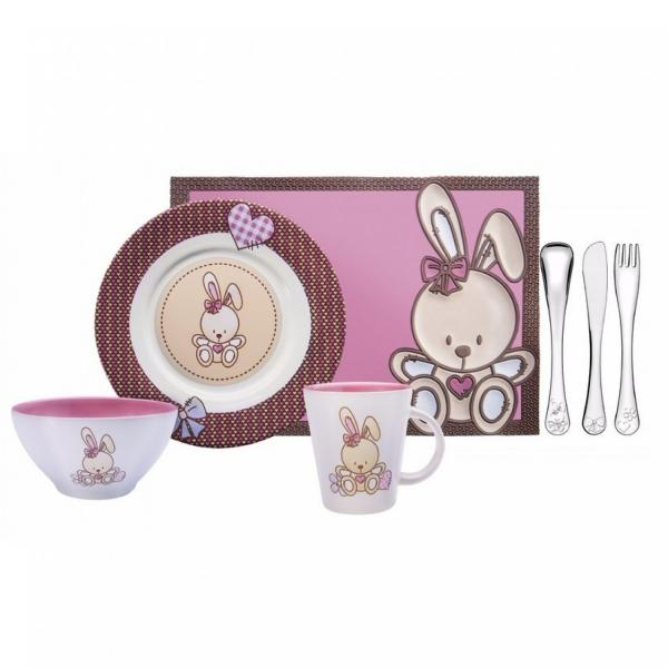Conjunto Infantil em Porcelana 7 Peças Le Petit Tramontina Rosa